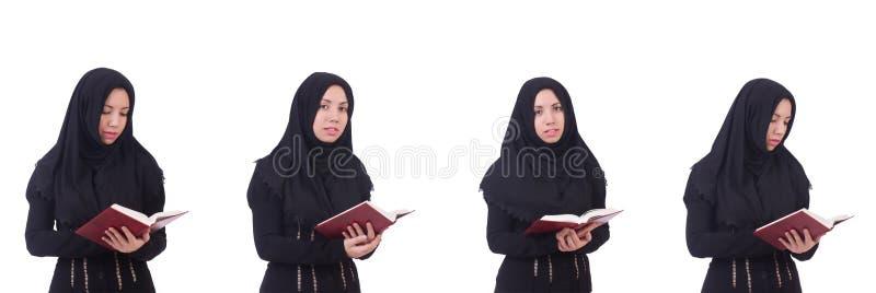 La mujer musulmán joven aislada en blanco foto de archivo