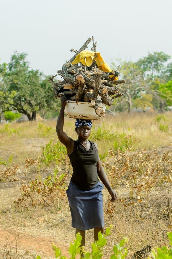 La mujer no identificada de Dagomban lleva un lavabo con bosque en su h imagenes de archivo