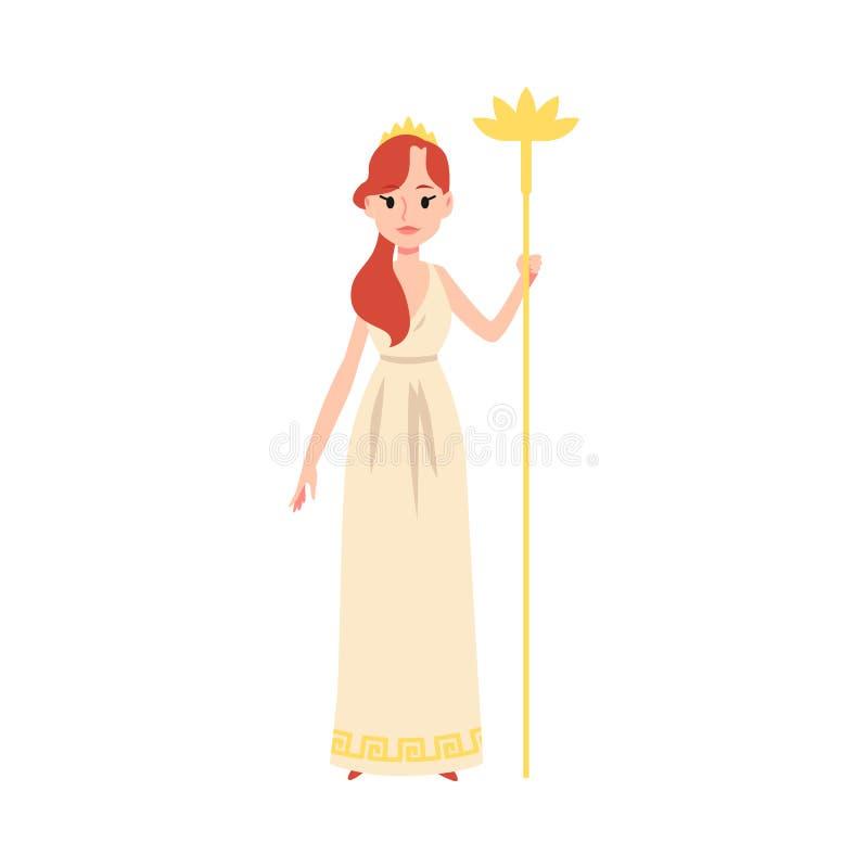 La mujer o la diosa griega de Hera se coloca que lleva a cabo estilo de oro de la historieta del personal libre illustration