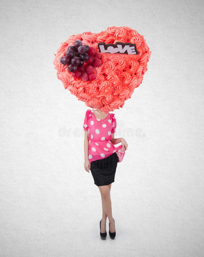 La mujer o la torta dirigió a la muchacha con concepto de diseño en fondo fotos de archivo libres de regalías