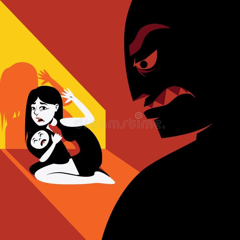 La mujer oculta al niño de la silueta masculina ilustración del vector