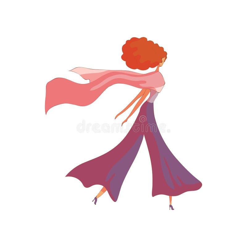 La mujer pelirroja camina en pantalones anchos del verano Ilustraci?n del vector en el fondo blanco stock de ilustración