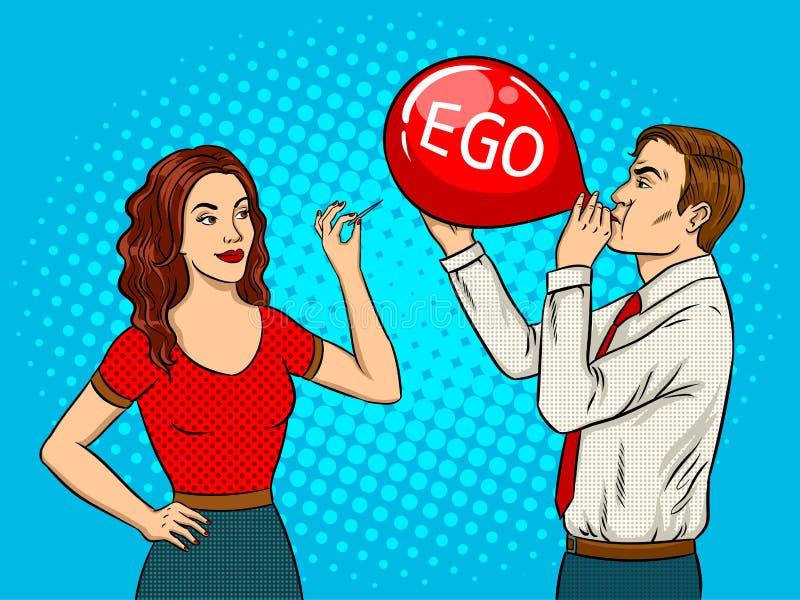 La mujer perfora el globo con vector del arte pop de la aguja stock de ilustración