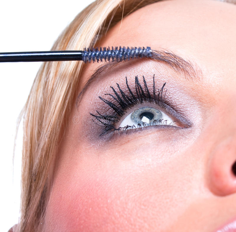 La mujer pinta la cara con maquillaje imagen de archivo libre de regalías