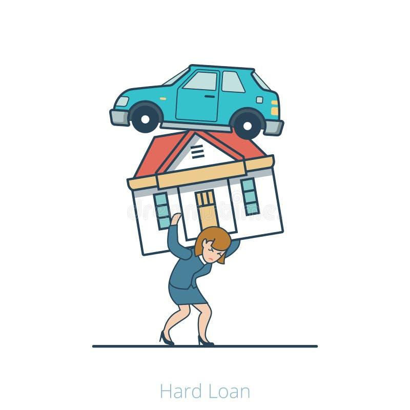 La mujer plana linear lleva vector del coche de la casa ilustración del vector
