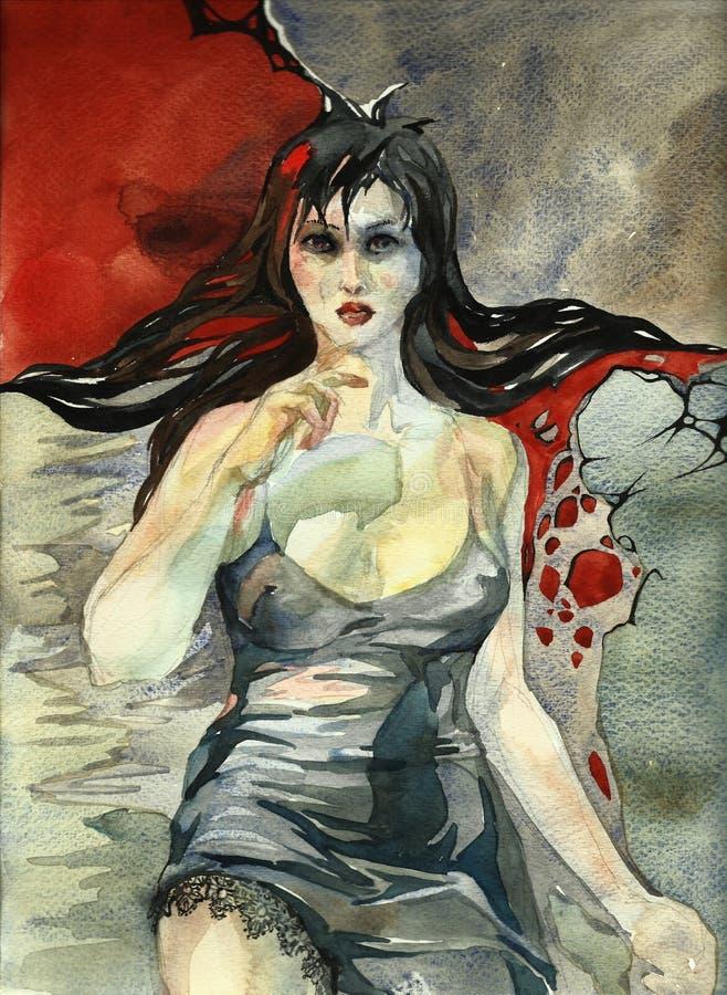 La mujer pone en la seda gris, ejemplo de la acuarela libre illustration