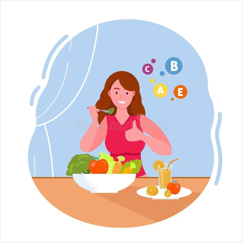 La mujer que come la ensalada de la vitamina stock de ilustración