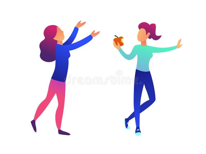 La mujer que come una manzana y otra mujer con las manos suben el ejemplo del vector ilustración del vector