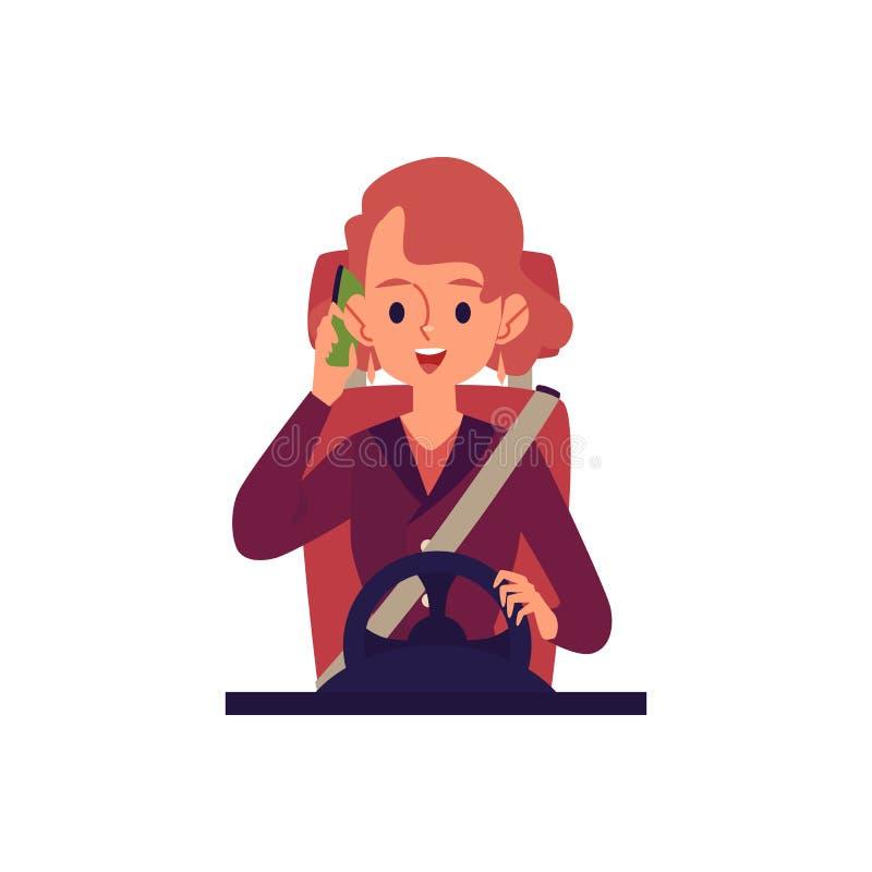 La mujer que conducía un coche y que hablaba en el ejemplo plano del vector del teléfono aisló ilustración del vector