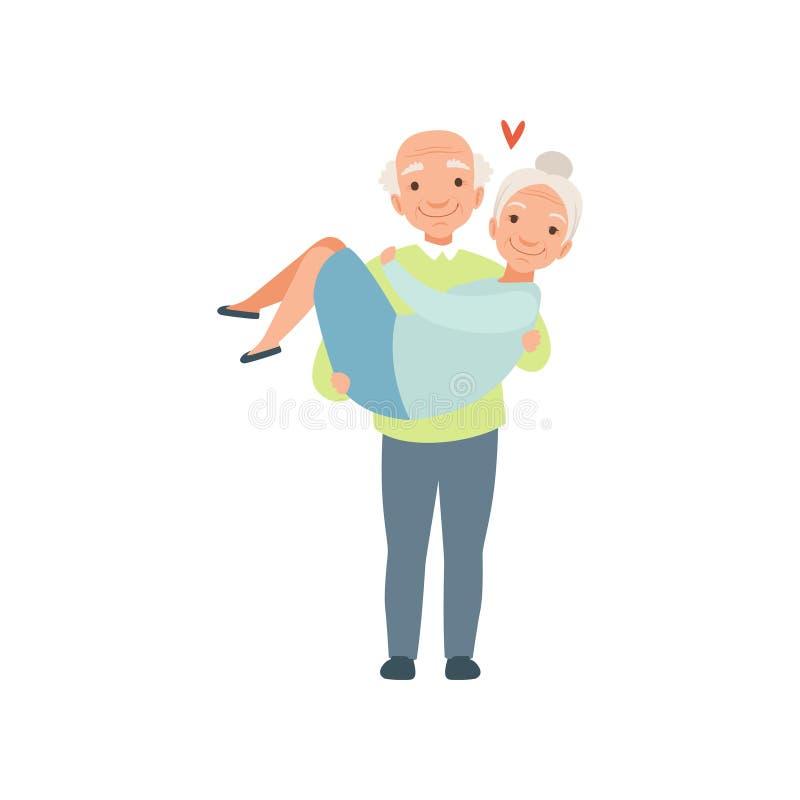 La mujer que cuida del hombre mayor en sus brazos, los pares románticos mayores en amor vector el ejemplo en un fondo blanco stock de ilustración