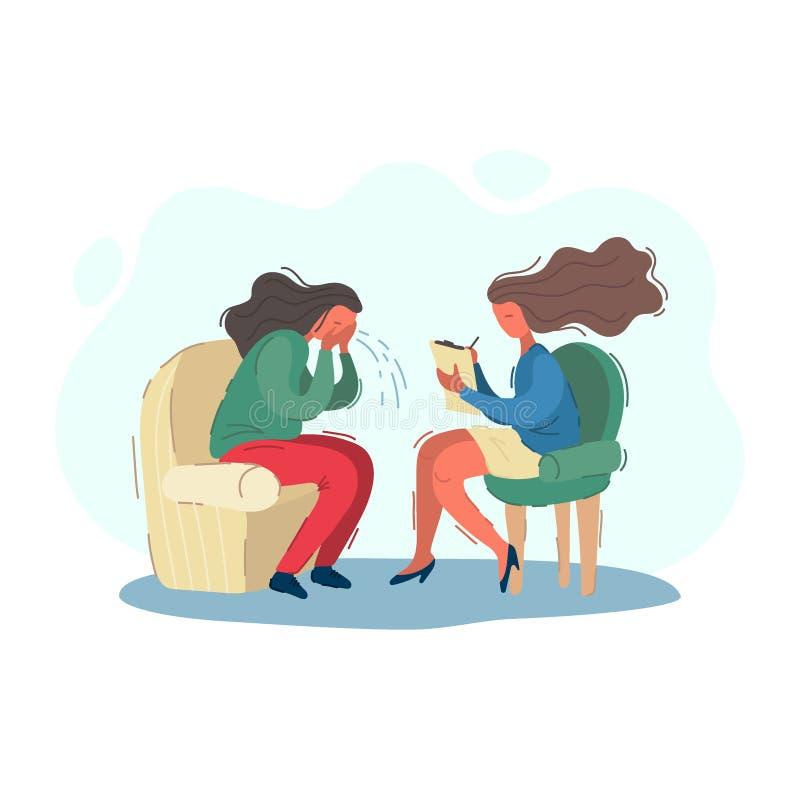 La mujer que el psicólogo escribe a pacientes la historia, psiquiatra acepta a un paciente gritador Vector del concepto de la psi libre illustration