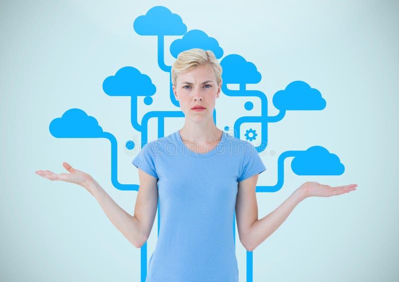La mujer que elige o que decide se nubla con las manos abiertas de la palma fotografía de archivo libre de regalías