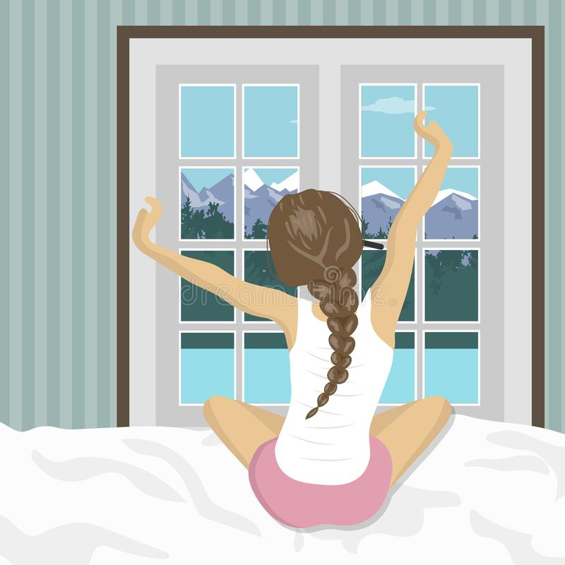 La mujer que estira en cama después de despierta Concepto para los días de fiesta y las vacaciones Paisaje de la montaña del vera stock de ilustración