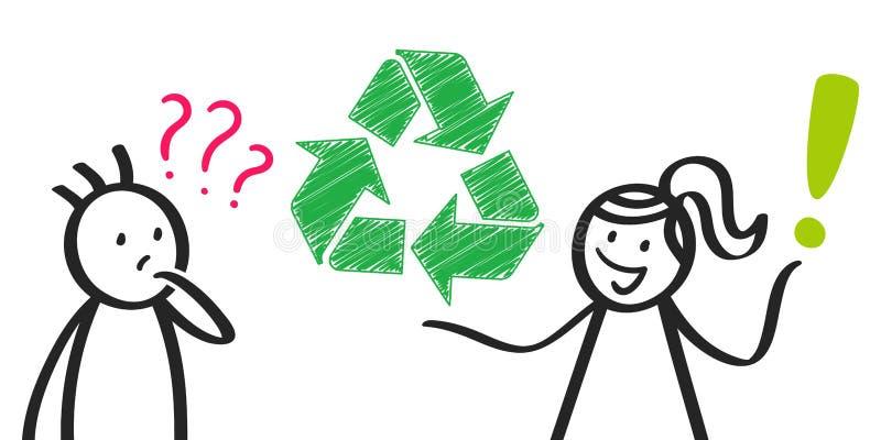 La mujer que explica recicla símbolo, la ecología, la figura estudiante y profesor del palillo, preguntas y respuestas ilustración del vector