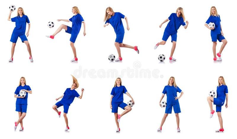 La mujer que juega a fútbol en blanco fotografía de archivo libre de regalías