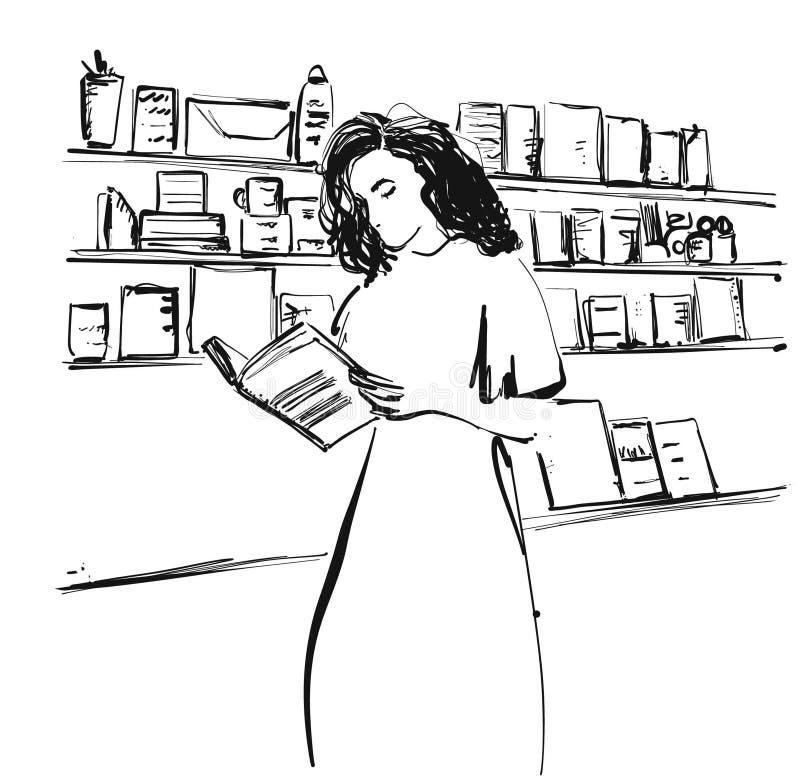 La mujer que lee el libro en la biblioteca, estudiante lee el libro, conocimiento de la educación, estante del concepto, sitio de stock de ilustración