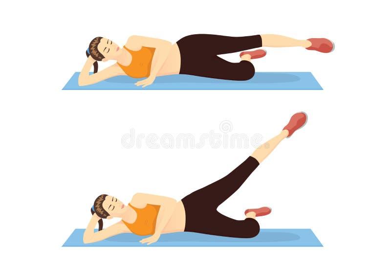 La mujer que muestra el paso del entrenamiento del muslo con la recto-pierna aumenta al exterior stock de ilustración
