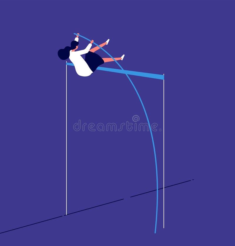La mujer que salta para arriba la empresaria supera obstáculo de la carrera investition progresivo del riesgo del flujo de trabaj ilustración del vector