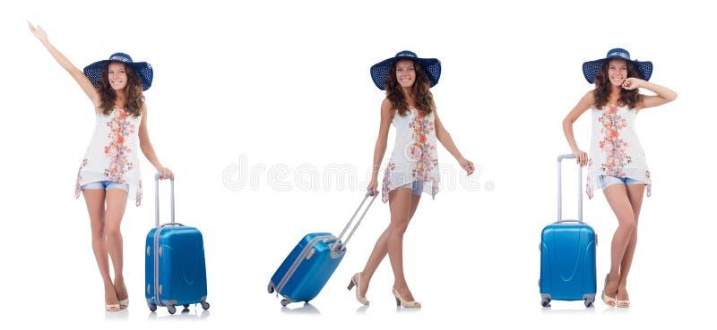 La mujer que se prepara para el viaje el vacaciones de verano fotos de archivo
