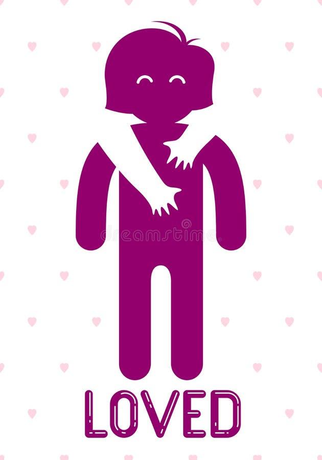 La mujer querida con las manos del cuidado de un hombre del amante que abraza y acaricia sus hombros, logotipo del icono del vect ilustración del vector
