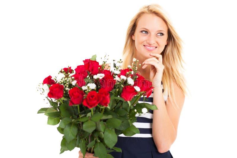 La mujer recibió rosas foto de archivo libre de regalías