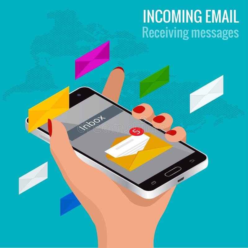 La mujer recibió un email en línea en un teléfono móvil Del mensaje concepto isométrico del vector del correo electrónico entrant stock de ilustración