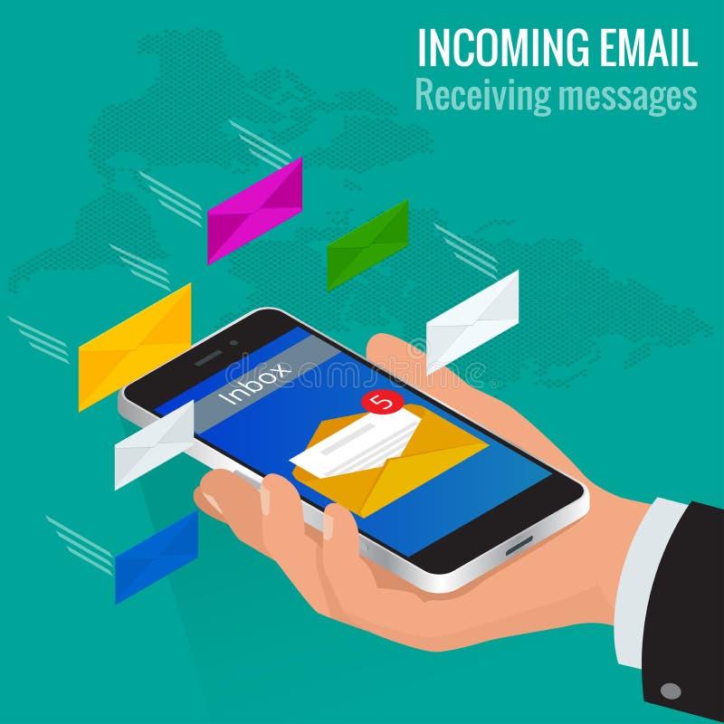 La mujer recibió un email en línea en un teléfono móvil Del mensaje concepto isométrico del vector del correo electrónico entrant libre illustration