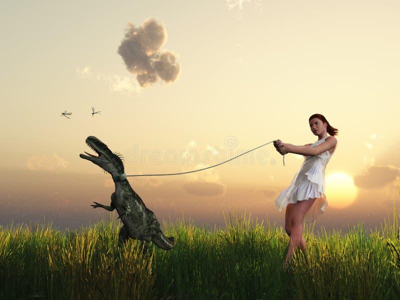 La mujer recorre con su animal doméstico stock de ilustración