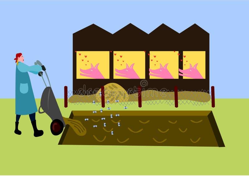 La mujer rubia joven en un delantal azul y botas, lleva el abono Los cerdos en dependencia están mirando encendido con amor libre illustration