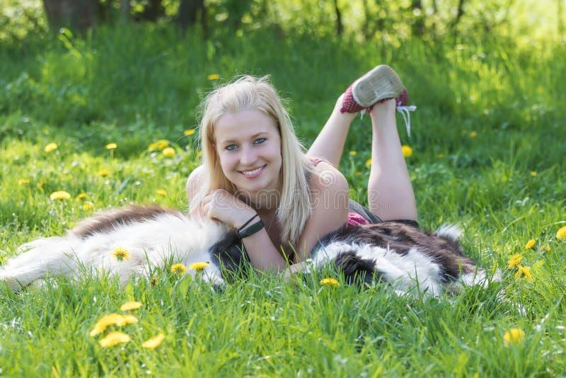 La mujer rubia joven sonriente está mintiendo entre dos borderes collie imagen de archivo libre de regalías