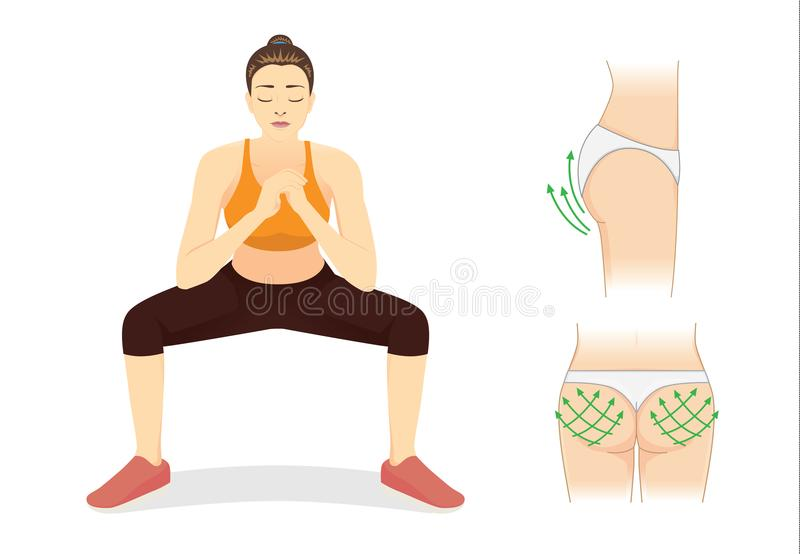 La mujer sana reduce la grasa para la cadera perfecta con entrenamiento agazapado ilustración del vector
