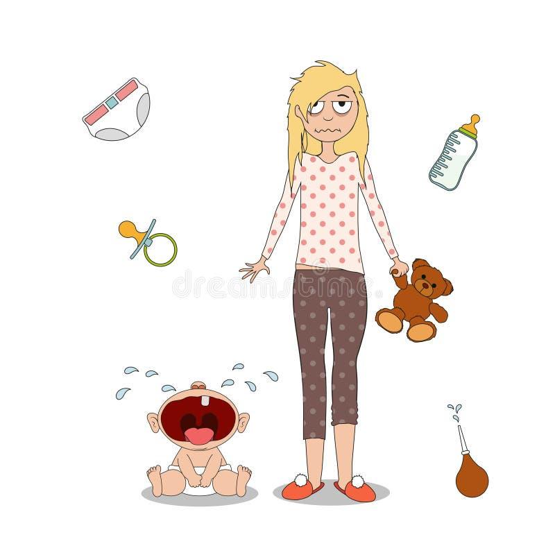 La mujer se está colocando al lado de un niño gritador ilustración del vector