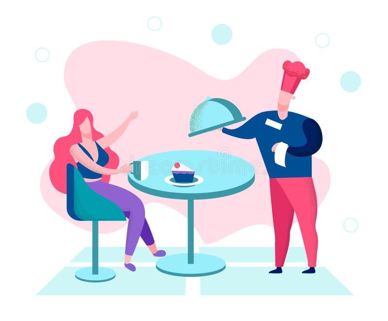 La mujer se relaja en caf? en la playa con hermosa vista stock de ilustración