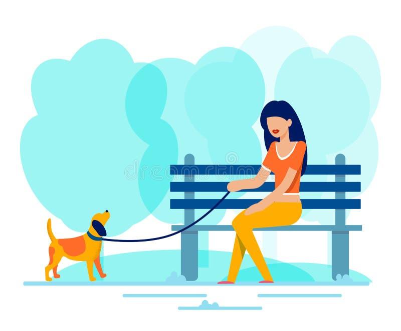 La mujer se sienta en banco a lo largo del perro que camina en parque libre illustration