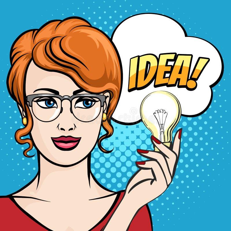 La mujer sostiene la bombilla con la burbuja del discurso dibujada en el estallido Art Style Ilustraci?n del vector ilustración del vector