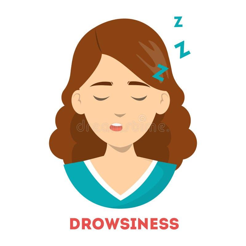 La mujer sufre de somnolencia Sueño cansado de la persona libre illustration