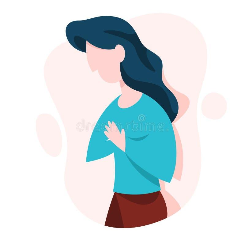 La mujer sufre del dolor en el síntoma del pecho stock de ilustración