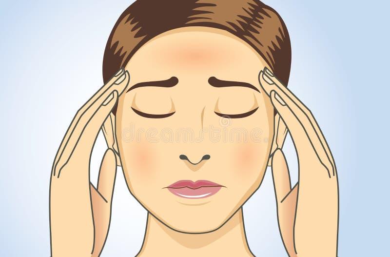 La mujer tiene dolores de cabeza y fiebre libre illustration