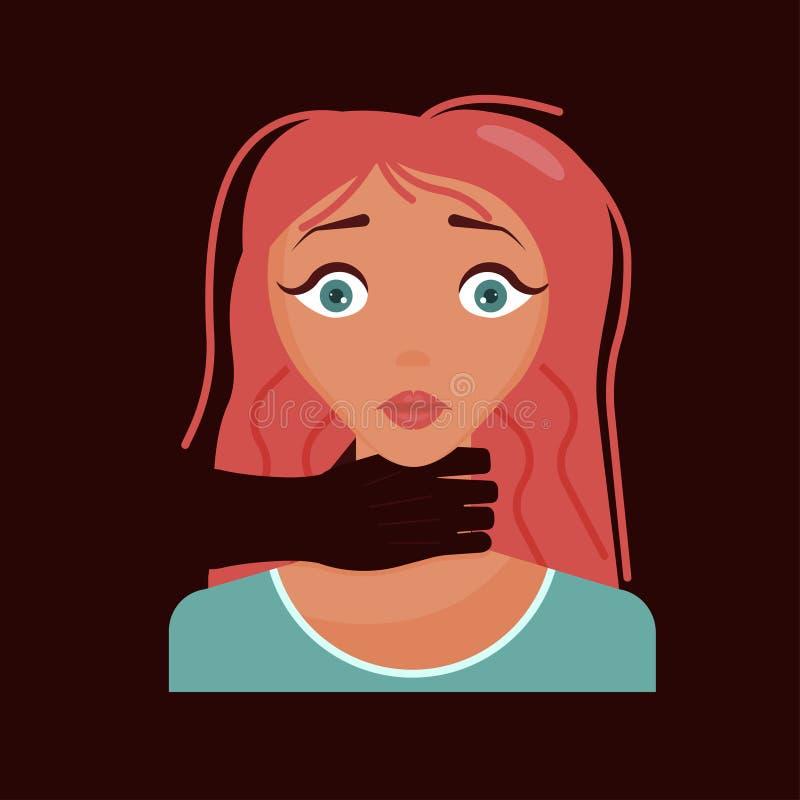 La mujer tiene un ataque de pánico stock de ilustración