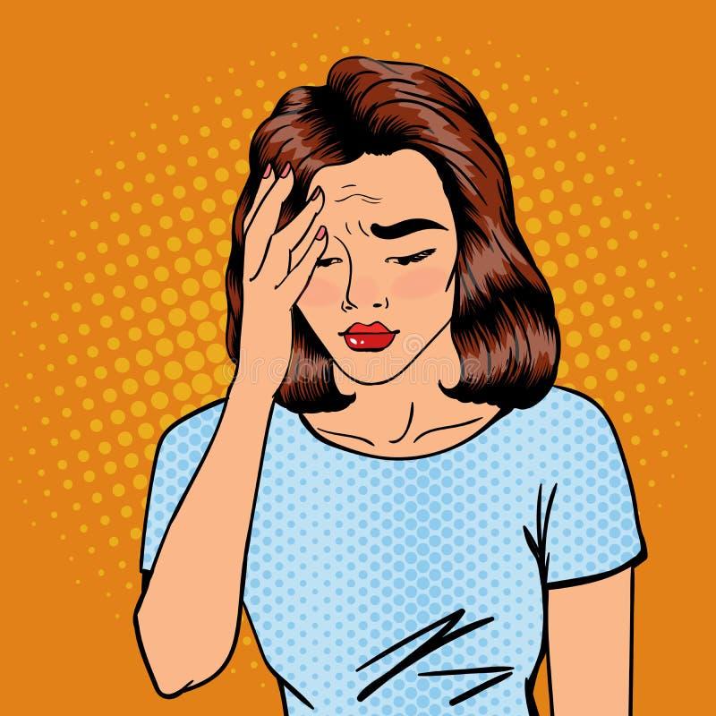 La mujer tiene un dolor de cabeza Tensión de la mujer Mujer agotada Arte pop ilustración del vector