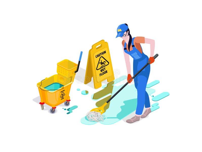 La mujer vestida en uniforme lava el piso en la oficina y limpia Servicio de limpieza profesional con el equipo y el personal fotos de archivo