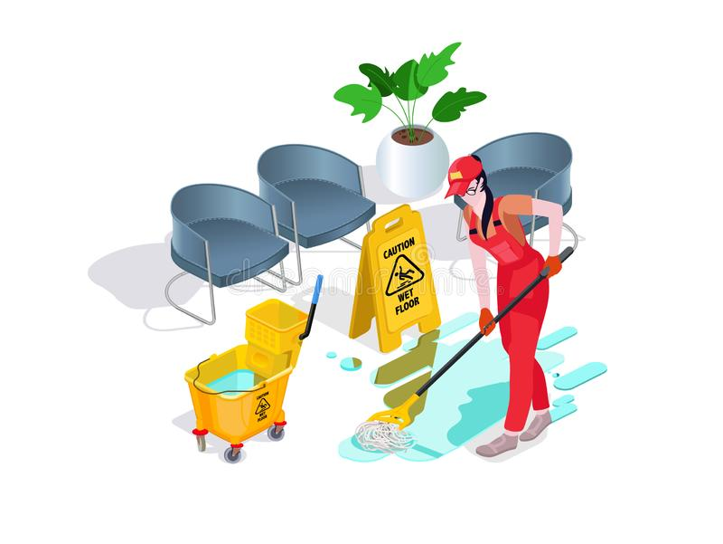 La mujer vestida en uniforme lava el piso en la oficina y limpia Servicio de limpieza profesional con el equipo y el personal foto de archivo libre de regalías