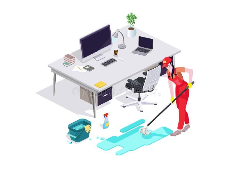 La mujer vestida en uniforme lava el piso en la oficina y limpia Servicio de limpieza profesional con el equipo y el personal Vec foto de archivo libre de regalías