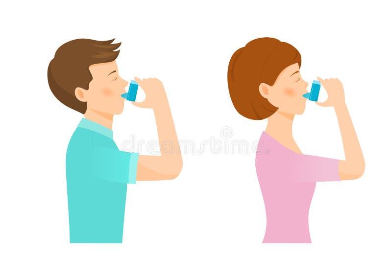 La mujer y el hombre utilizan un inhalador libre illustration