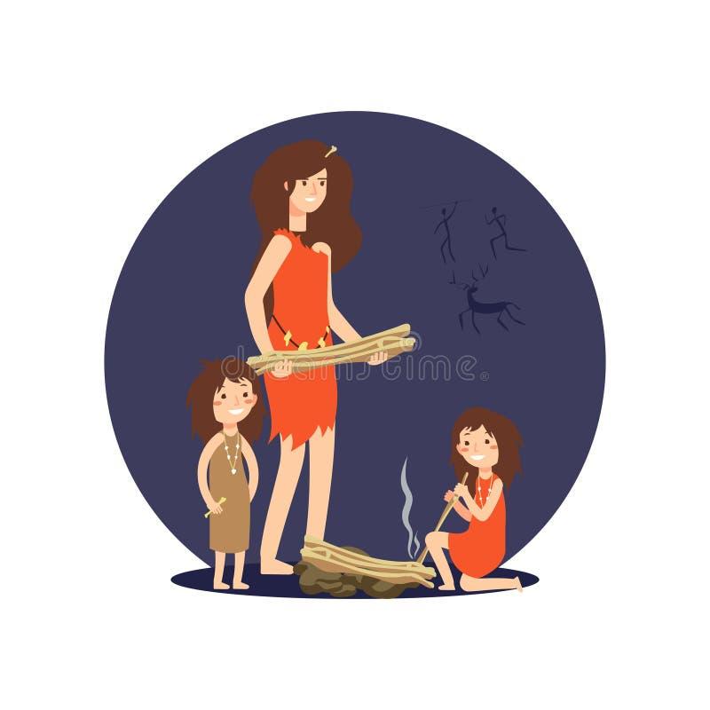 La mujer y las muchachas de la Edad de Piedra consiguen el fuego libre illustration