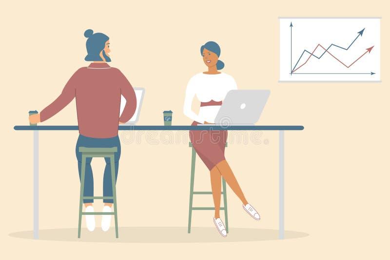 La mujer y los amigos o los colegas del hombre que se sientan en el escritorio en oficina moderna, trabajando en el cuaderno y la stock de ilustración