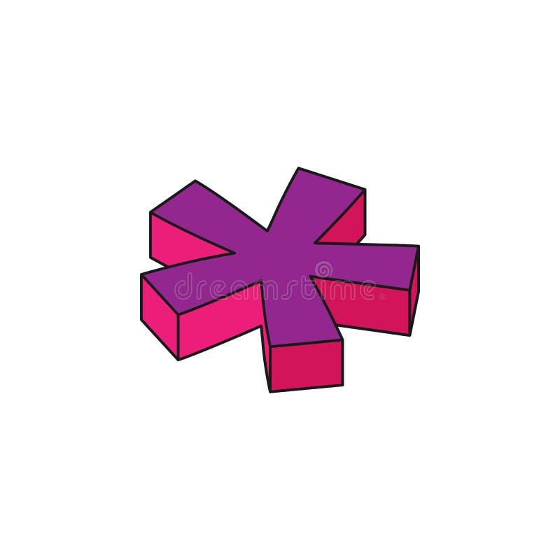 la multiplicación de la muestra matemática, 3D coloreó el icono isométrico Elemento de las palabras 3d y del icono de los símbolo ilustración del vector