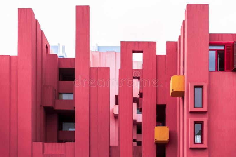 La Muralla Roja building by modern Spanish architect Ricardo Bofill, Calp, Spain. Calp, Costa Blanca, province of Alicante, Spain - Apr. 2019: La Muralla Roja royalty free stock image