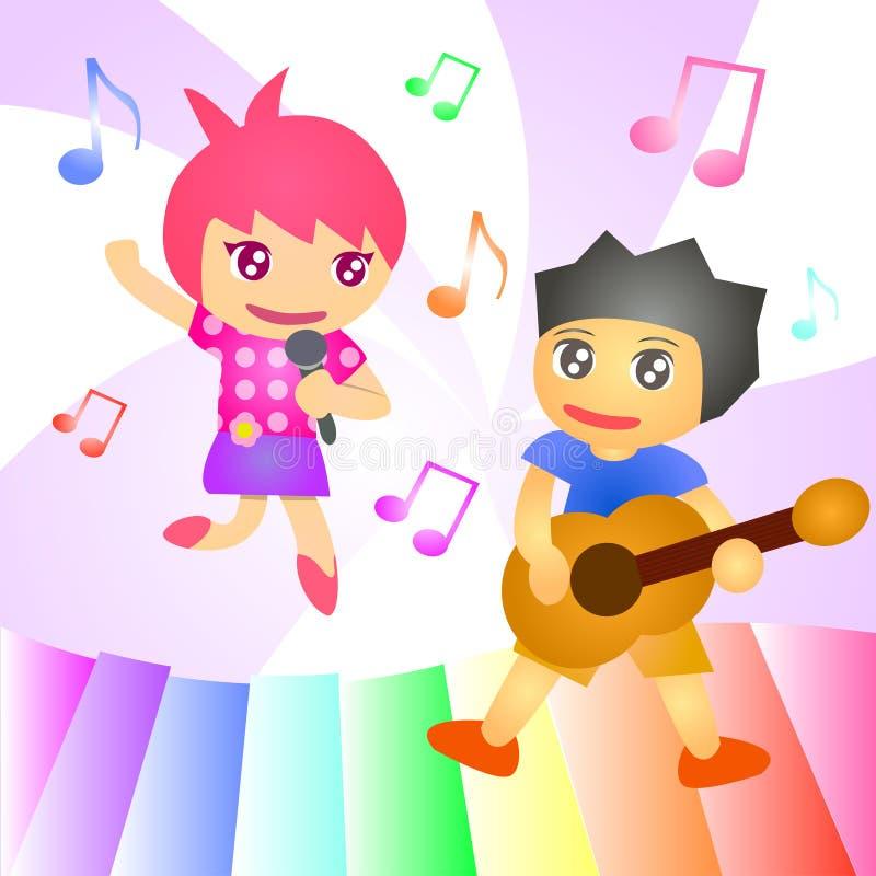 La musica di banda di canzone del bambino canta la chitarra fotografie stock libere da diritti