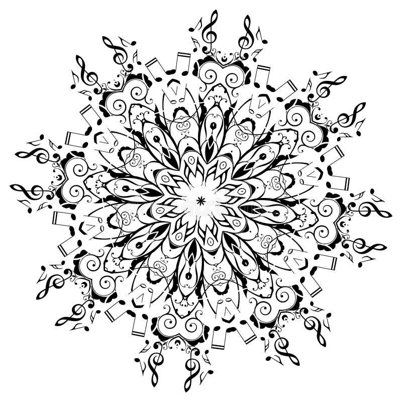 La musica nota intorno all'ornamento floreale royalty illustrazione gratis